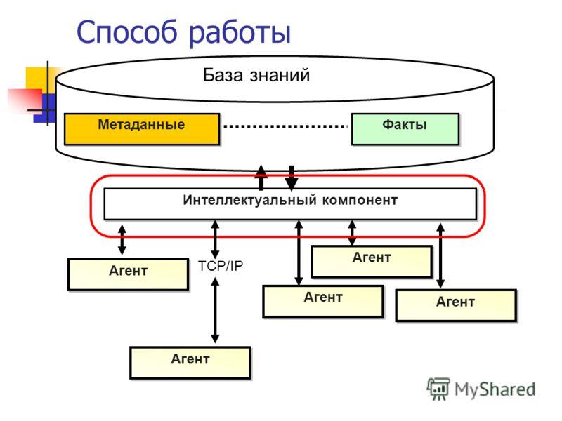 Способ работы Интеллектуальный компонент Агент Метаданные Факты Агент База знаний TCP/IP