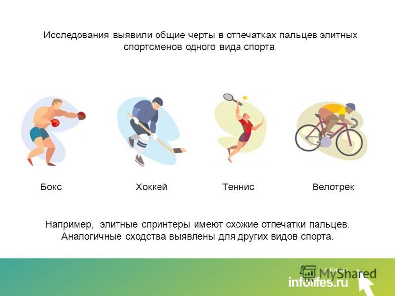 Например, элитные спринтеры имеют схожие отпечатки пальцев. Аналогичные сходства выявлены для других видов спорта. Исследования выявили общие черты в отпечатках пальцев элитных спортсменов одного вида спорта. Бокс Хоккей Теннис Велотрек