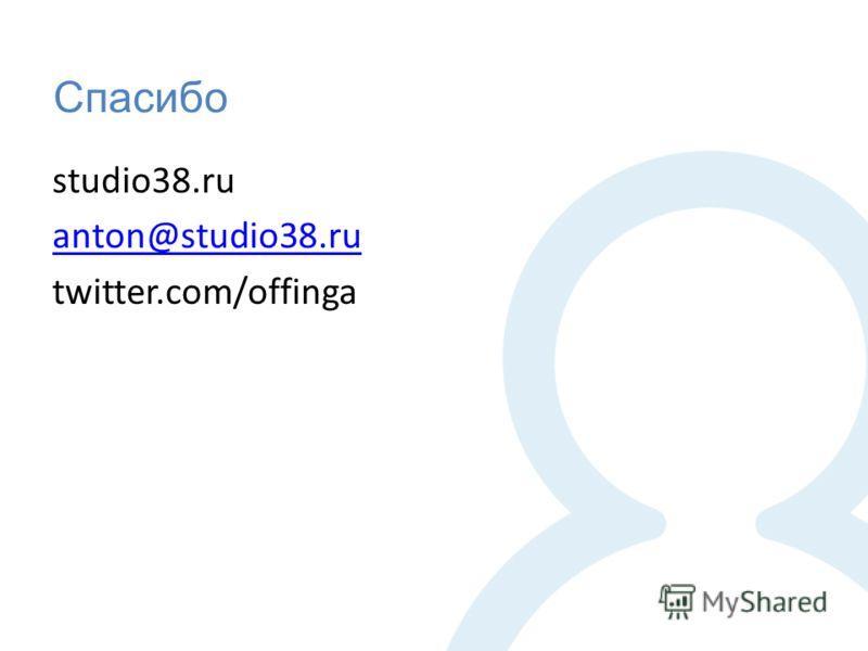 Спасибо studio38.ru anton@studio38.ru twitter.com/offinga