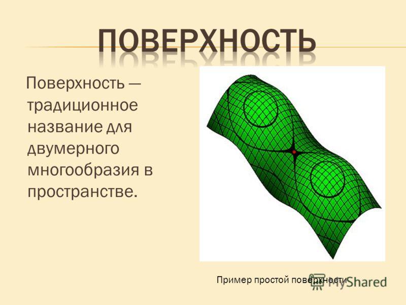 Поверхность традиционное название для двумерного многообразия в пространстве. Пример простой поверхности