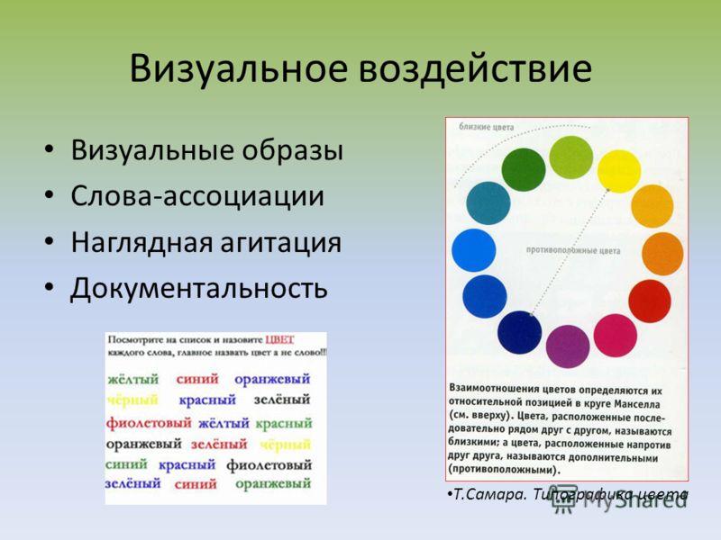 Визуальные образы Слова-ассоциации Наглядная агитация Документальность Т.Самара. Типографика цвета Визуальное воздействие