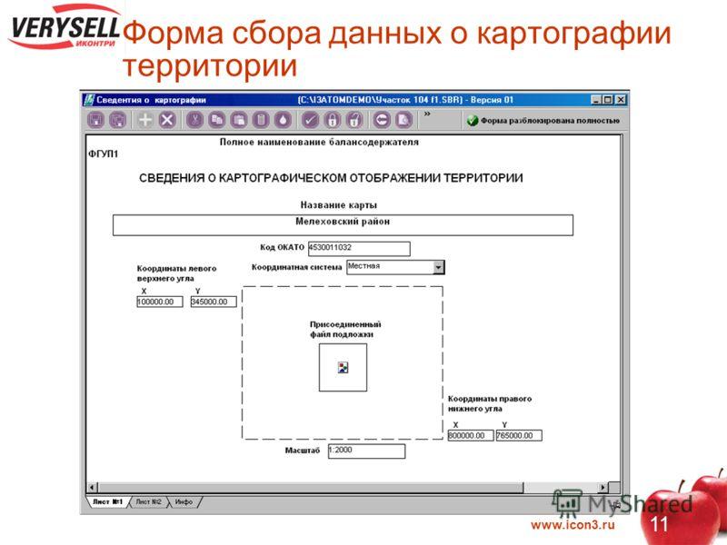 www.icon3.ru 11 Форма сбора данных о картографии территории