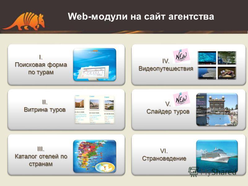 Web-модули на сайт агентства I. Поисковая форма по турам II. Витрина туров III. Каталог отелей по странам IV. Видеопутешествия V. Слайдер туров VI. Страноведение