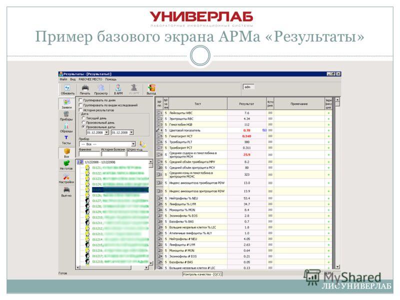 Пример базового экрана АРМа «Результаты» ЛИС УНИВЕРЛАБ