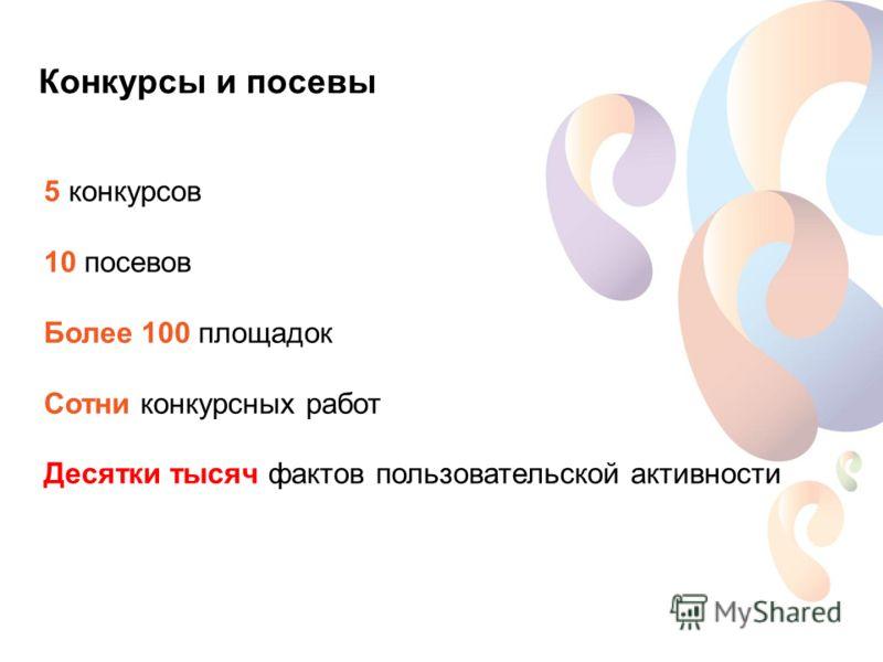 Конкурсы и посевы 5 конкурсов 10 посевов Более 100 площадок Сотни конкурсных работ Десятки тысяч фактов пользовательской активности