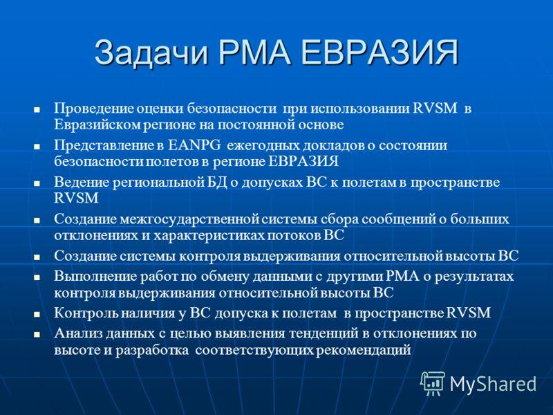 Задачи РМА ЕВРАЗИЯ Проведение оценки безопасности при использовании RVSM в Евразийском регионе на постоянной основе Представление в EANPG ежегодных докладов о состоянии безопасности полетов в регионе ЕВРАЗИЯ Ведение региональной БД о допусках ВС к по