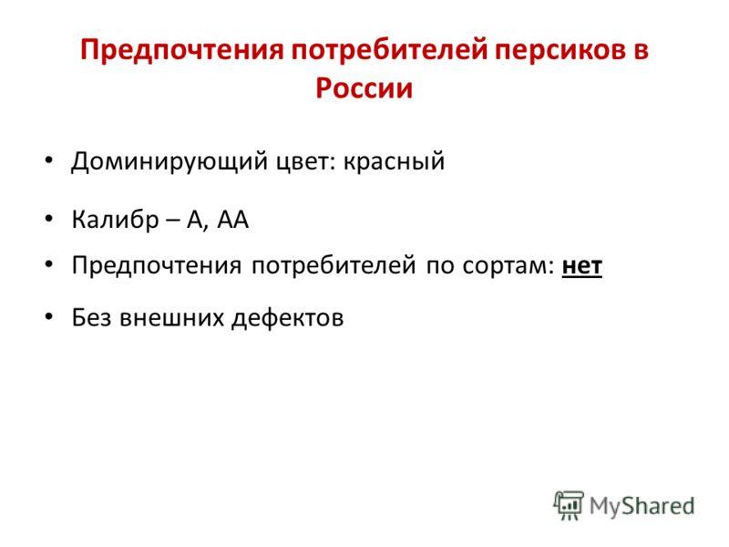 Предпочтения потребителей персиков в России Доминирующий цвет: красный Калибр – A, AA Предпочтения потребителей по сортам: нет Без внешних дефектов