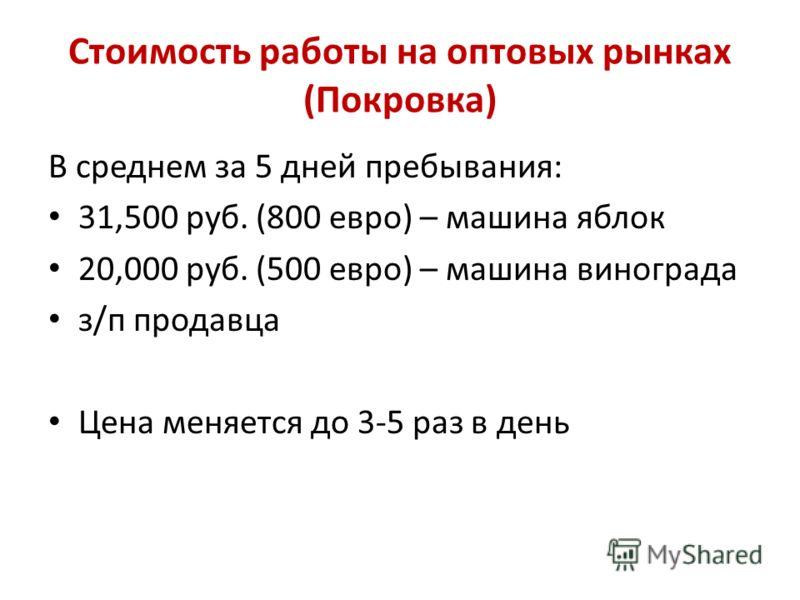 Стоимость работы на оптовых рынках (Покровка) В среднем за 5 дней пребывания: 31,500 руб. (800 евро) – машина яблок 20,000 руб. (500 евро) – машина винограда з/п продавца Цена меняется до 3-5 раз в день