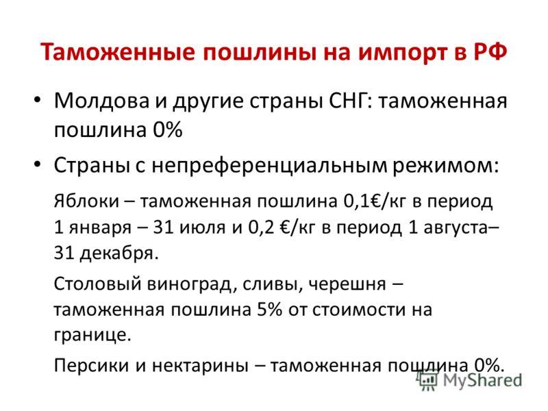 Таможенные пошлины на импорт в РФ Молдова и другие страны СНГ: таможенная пошлина 0% Страны с непреференциальным режимом: Яблоки – таможенная пошлина 0,1/кг в период 1 января – 31 июля и 0,2 /кг в период 1 августа– 31 декабря. Столовый виноград, слив