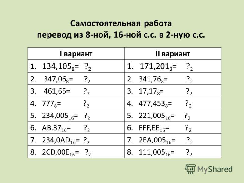 I вариантII вариант 1. 134,105 8 = ? 2 1. 171,201 8 = ? 2 2. 347,06 8 = ? 2 2. 341,76 8 = ? 2 3. 461,65= ? 2 3. 17,17 8 = ? 2 4. 777 8 = ? 2 4. 477,453 8 = ? 2 5. 234,005 16 = ? 2 5. 221,005 16 = ? 2 6. AB,37 16 = ? 2 6. FFF,EE 16 = ? 2 7. 234,0AD 16