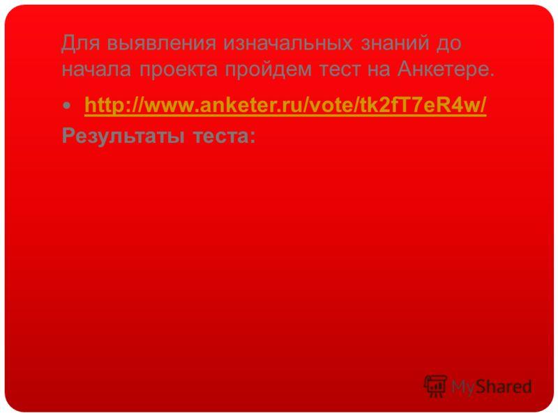 Для выявления изначальных знаний до начала проекта пройдем тест на Анкетере. http://www.anketer.ru/vote/tk2fT7eR4w/ Результаты теста:
