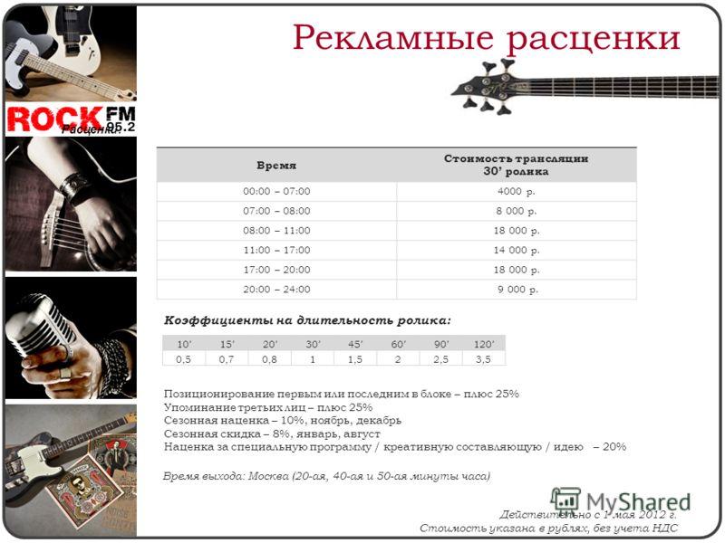 Рекламные расценки Действительно с 1 мая 2012 г. Стоимость указана в рублях, без учета НДС Коэффициенты на длительность ролика: Расценки: Позиционирование первым или последним в блоке – плюс 25% Упоминание третьих лиц – плюс 25% Сезонная наценка – 10