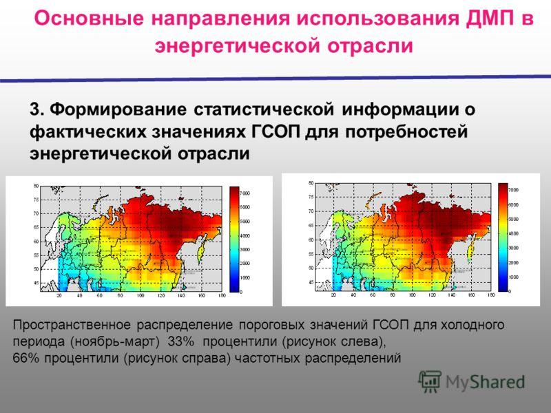 Основные направления использования ДМП в энергетической отрасли 3. Формирование статистической информации о фактических значениях ГСОП для потребностей энергетической отрасли Пространственное распределение пороговых значений ГСОП для холодного период