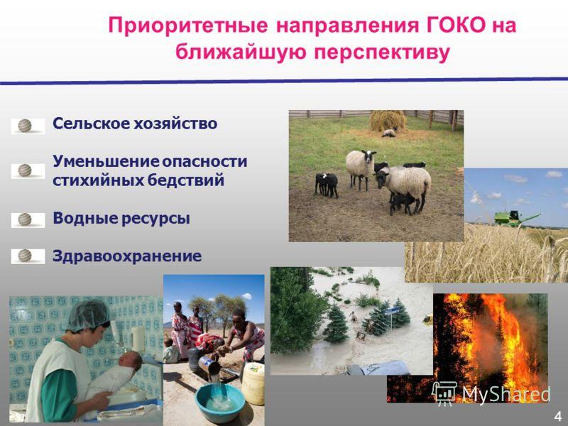 Приоритетные направления ГОКО на ближайшую перспективу Сельское хозяйство Уменьшение опасности стихийных бедствий Водные ресурсы Здравоохранение 4