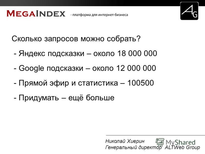 Николай Хиврин Генеральный директор ALTWeb Group Сколько запросов можно собрать? - Яндекс подсказки – около 18 000 000 - Google подсказки – около 12 000 000 - Прямой эфир и статистика – 100500 - Придумать – ещё больше