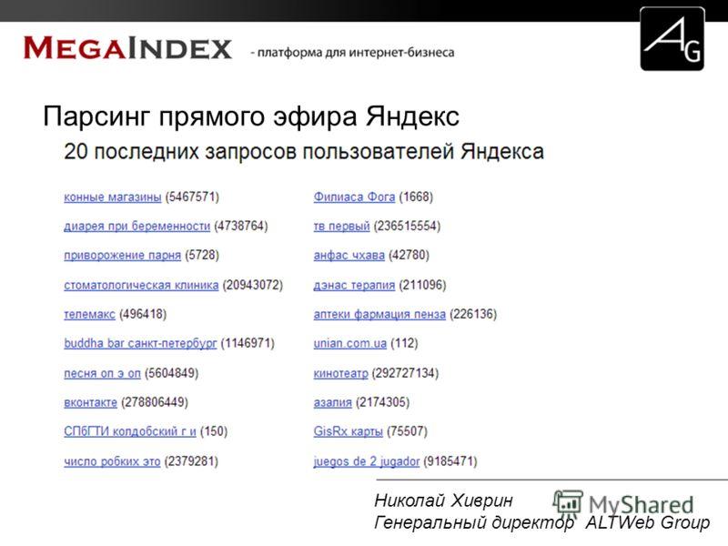 Николай Хиврин Генеральный директор ALTWeb Group Парсинг прямого эфира Яндекс