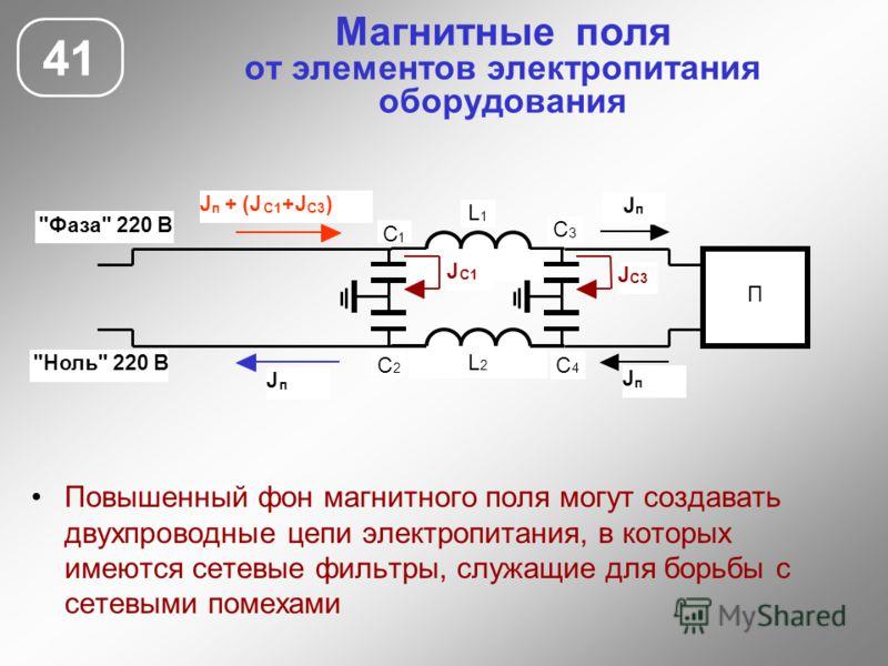 Магнитные поля от элементов электропитания оборудования 41 Повышенный фон магнитного поля могут создавать двухпроводные цепи электропитания, в которых имеются сетевые фильтры, служащие для борьбы с сетевыми помехами П С 1