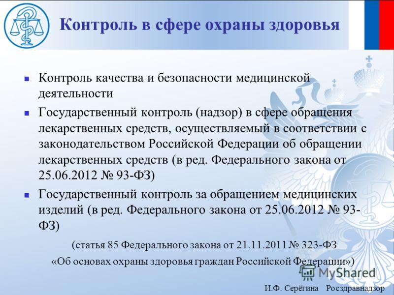 Контроль в сфере охраны здоровья Контроль качества и безопасности медицинской деятельности Государственный контроль ( надзор ) в сфере обращения лекарственных средств, осуществляемый в соответствии с законодательством Российской Федерации об обращени