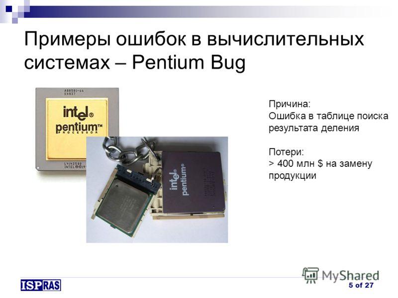 Примеры ошибок в вычислительных системах – Pentium Bug Причина: Ошибка в таблице поиска результата деления Потери: > 400 млн $ на замену продукции 5 of 27