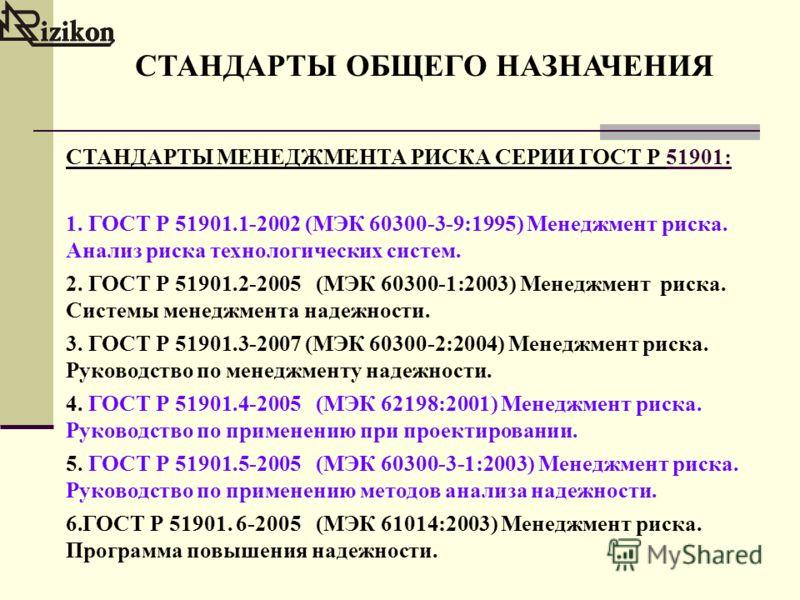 СТАНДАРТЫ ОБЩЕГО НАЗНАЧЕНИЯ СТАНДАРТЫ МЕНЕДЖМЕНТА РИСКА СЕРИИ ГОСТ Р 51901: 1. ГОСТ Р 51901.1-2002 (МЭК 60300-3-9:1995) Менеджмент риска. Анализ риска технологических систем. 2. ГОСТ Р 51901.2-2005 (МЭК 60300-1:2003) Менеджмент риска. Системы менеджм