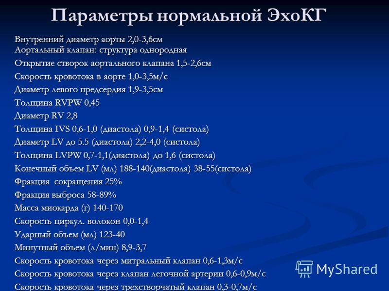 Параметры нормальной ЭхоКГ Внутренний диаметр аорты 2,0-3,6см Аортальный клапан: структура однородная Открытие створок аортального клапана 1,5-2,6см Скорость кровотока в аорте 1,0-3,5м/с Диаметр левого предсердия 1,9-3,5см Толщина RVPW 0,45 Диаметр R