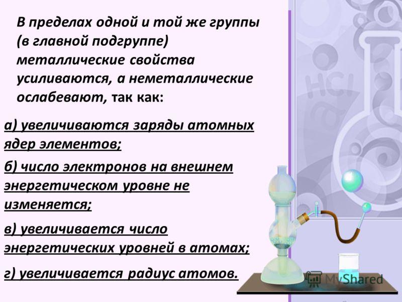 В пределах одной и той же группы (в главной подгруппе) металлические свойства усиливаются, а неметаллические ослабевают, так как: а) увеличиваются заряды атомных ядер элементов; б) число электронов на внешнем энергетическом уровне не изменяется; в) у
