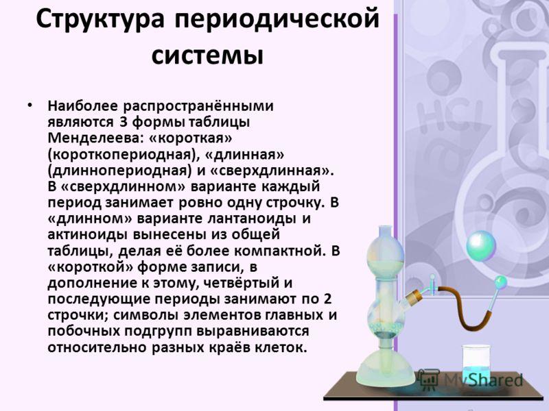 Структура периодической системы Наиболее распространёнными являются 3 формы таблицы Менделеева: «короткая» (короткопериодная), «длинная» (длиннопериодная) и «сверхдлинная». В «сверхдлинном» варианте каждый период занимает ровно одну строчку. В «длинн