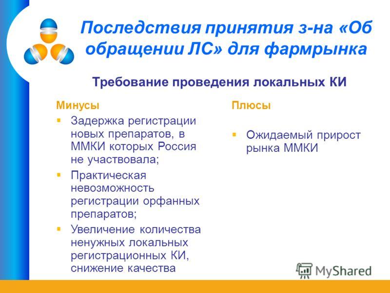 Последствия принятия з-на «Об обращении ЛС» для фармрынка Минусы Задержка регистрации новых препаратов, в ММКИ которых Россия не участвовала; Практическая невозможность регистрации орфанных препаратов; Увеличение количества ненужных локальных регистр