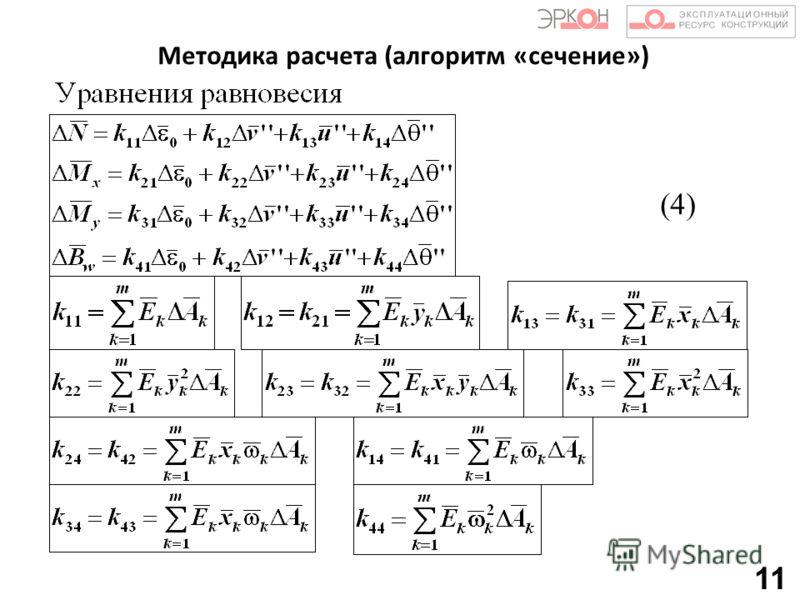 Методика расчета (алгоритм «сечение») 11 (4)
