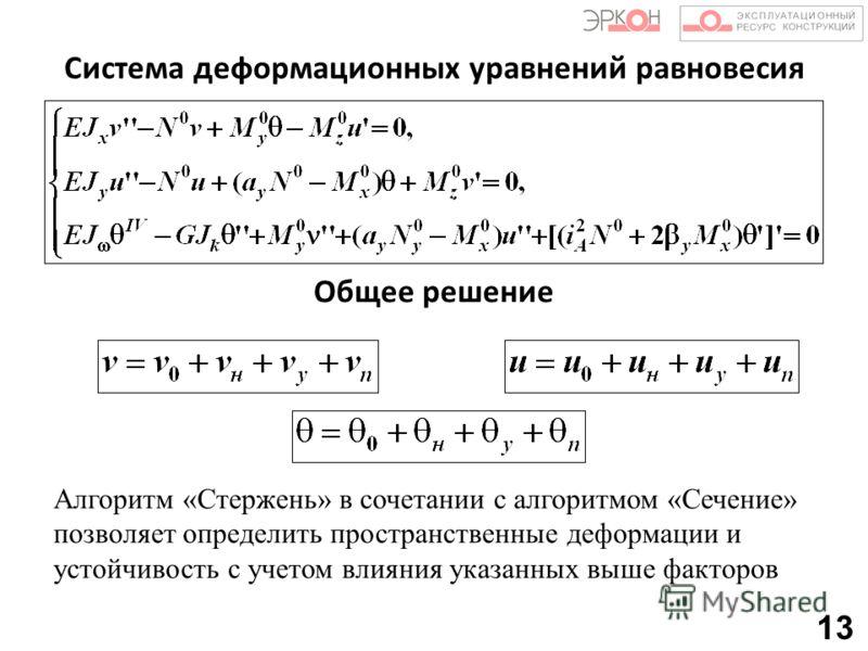 Система деформационных уравнений равновесия Общее решение Алгоритм «Стержень» в сочетании с алгоритмом «Сечение» позволяет определить пространственные деформации и устойчивость с учетом влияния указанных выше факторов 13