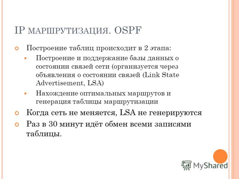 IP МАРШРУТИЗАЦИЯ. OSPF Построение таблиц происходит в 2 этапа: Построение и поддержание базы данных о состоянии связей сети (организуется через объявления о состоянии связей (Link State Advertisement, LSA) Нахождение оптимальных маршрутов и генерация