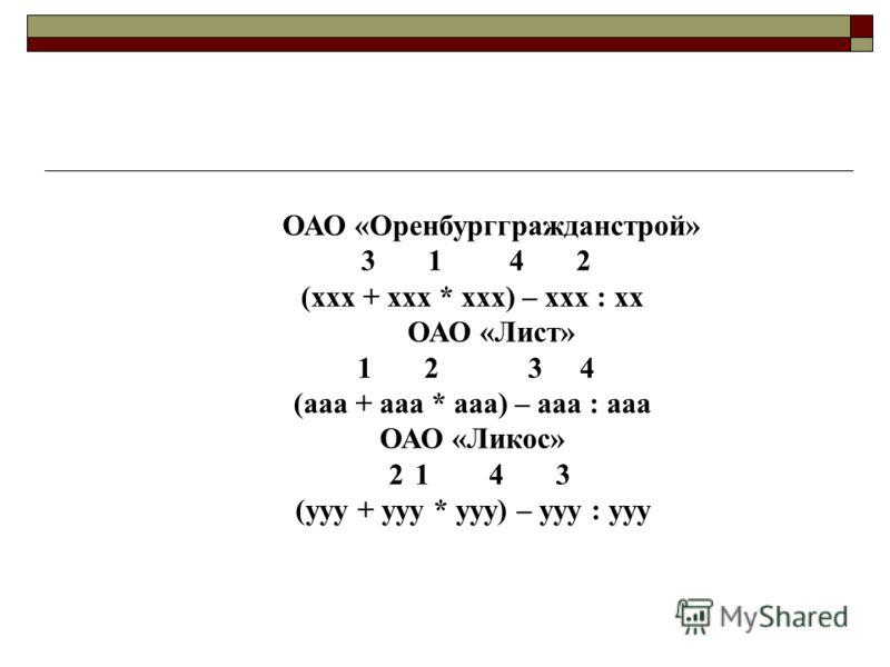 ОАО «Оренбурггражданстрой» 3 1 4 2 (ххх + ххх * ххх) – ххх : хх ОАО «Лист» 1 2 3 4 (ааа + ааа * ааа) – ааа : ааа ОАО «Ликос» 2 1 4 3 (ууу + ууу * ууу) – ууу : ууу