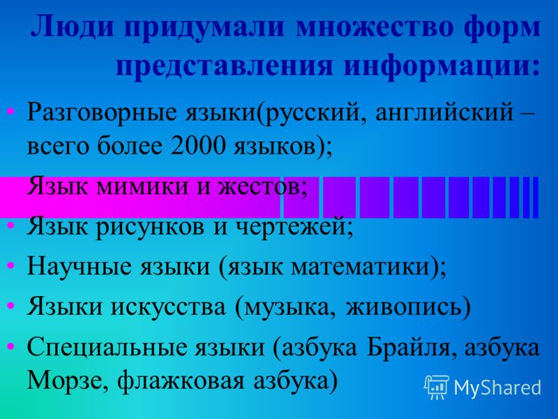 Люди придумали множество форм представления информации: Разговорные языки(русский, английский – всего более 2000 языков); Язык мимики и жестов; Язык рисунков и чертежей; Научные языки (язык математики); Языки искусства (музыка, живопись) Специальные