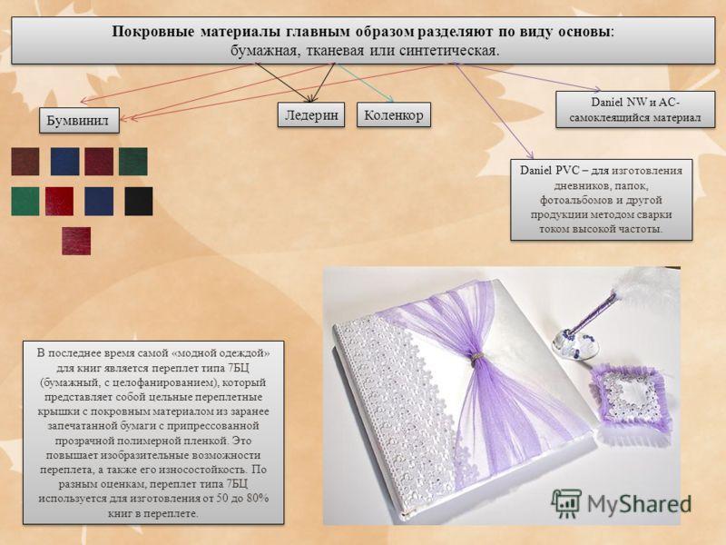Покровные материалы главным образом разделяют по виду основы: бумажная, тканевая или синтетическая. Покровные материалы главным образом разделяют по виду основы: бумажная, тканевая или синтетическая. Бумвинил Коленкор Ледерин Daniel NW и AC- самоклея