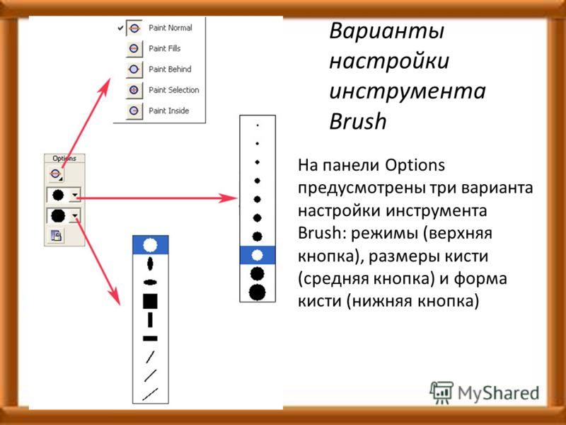 Варианты настройки инструмента Brush На панели Options предусмотрены три варианта настройки инструмента Brush: режимы (верхняя кнопка), размеры кисти (средняя кнопка) и форма кисти (нижняя кнопка)