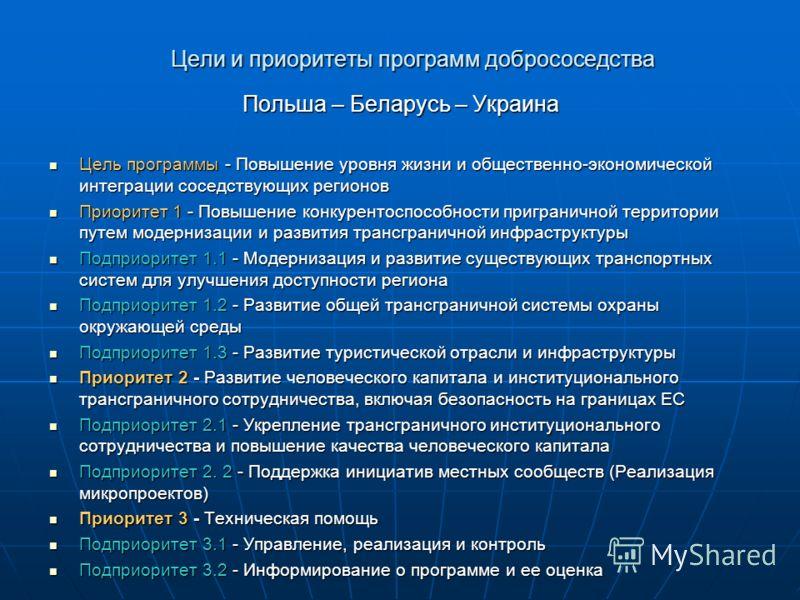 Цели и приоритеты программ добрососедства Польша – Беларусь – Украина Цель программы - Повышение уровня жизни и общественно-экономической интеграции соседствующих регионов Цель программы - Повышение уровня жизни и общественно-экономической интеграции