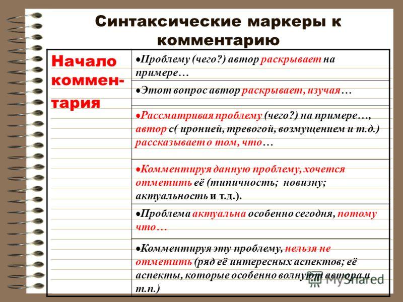 Синтаксические маркеры к комментарию Начало коммен- тария Проблему (чего?) автор раскрывает на примере… Этот вопрос автор раскрывает, изучая… Рассматривая проблему (чего?) на примере…, автор с( иронией, тревогой, возмущением и т.д.) рассказывает о то