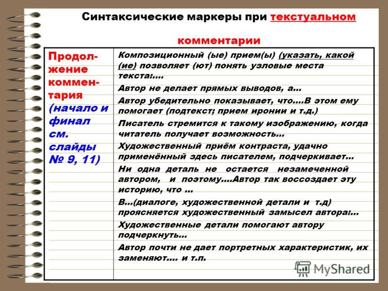 Синтаксические маркеры при текстуальном комментарии Продол- жение коммен- тария (начало и финал см. слайды 9, 11) Композиционный (ые) прием(ы) (указать, какой (ие) позволяет (ют) понять узловые места текста:…. Автор не делает прямых выводов, а… Автор