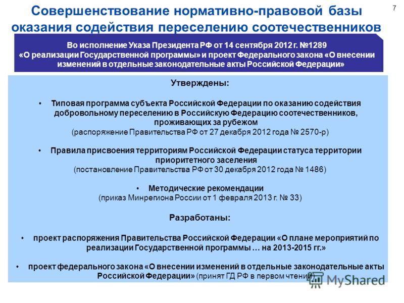 7 Совершенствование нормативно-правовой базы оказания содействия переселению соотечественников Утверждены: Типовая программа субъекта Российской Федерации по оказанию содействия добровольному переселению в Российскую Федерацию соотечественников, прож