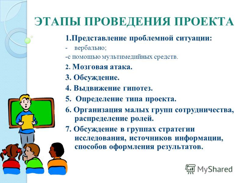 ЭТАПЫ ПРОВЕДЕНИЯ ПРОЕКТА 1.Представление проблемной ситуации: -вербально; -с помощью мультимедийных средств. 2. Мозговая атака. 3. Обсуждение. 4. Выдвижение гипотез. 5. Определение типа проекта. 6. Организация малых групп сотрудничества, распределени