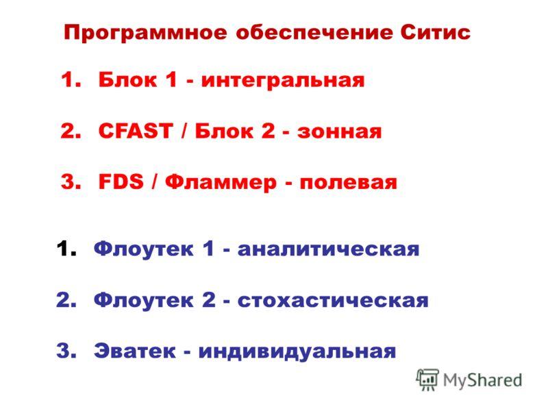 Программное обеспечение Ситис 1. Блок 1 - интегральная 2. CFAST / Блок 2 - зонная 3. FDS / Фламмер - полевая 1. Флоутек 1 - аналитическая 2. Флоутек 2 - стохастическая 3. Эватек - индивидуальная