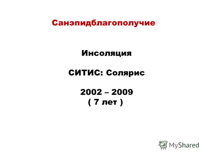 Санэпидблагополучие Инсоляция СИТИС: Солярис 2002 – 2009 ( 7 лет )