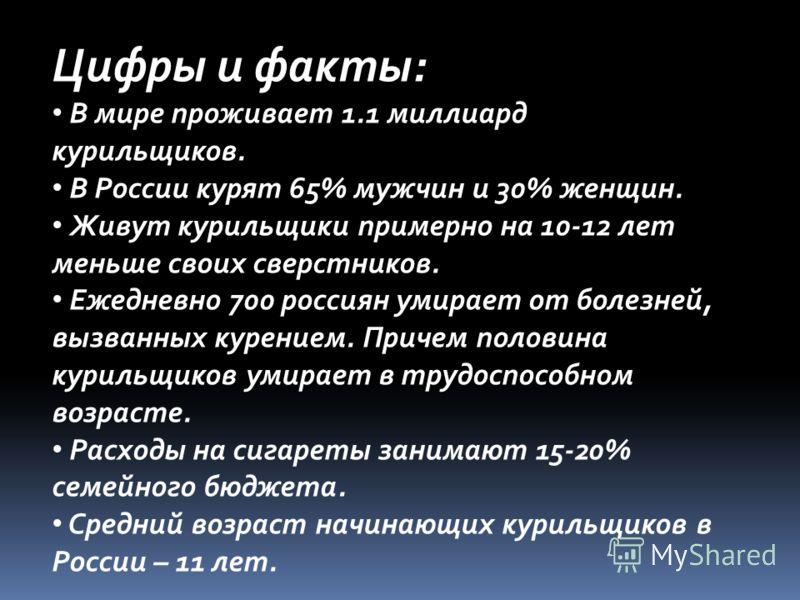 Цифры и факты: В мире проживает 1.1 миллиард курильщиков. В России курят 65% мужчин и 30% женщин. Живут курильщики примерно на 10-12 лет меньше своих сверстников. Ежедневно 700 россиян умирает от болезней, вызванных курением. Причем половина курильщи