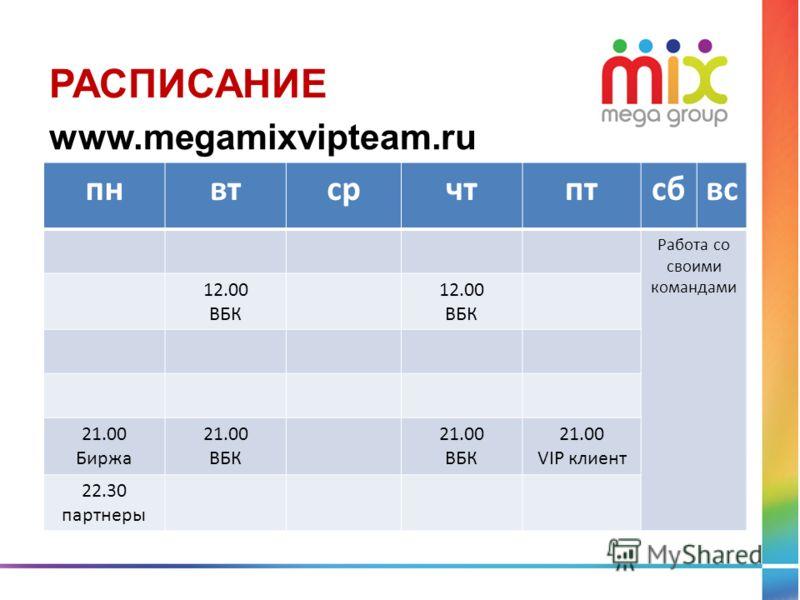 пнвтсрчтптсбвс Работа со своими командами 12.00 ВБК 12.00 ВБК 21.00 Биржа 21.00 ВБК 21.00 ВБК 21.00 VIP клиент 22.30 партнеры РАСПИСАНИЕ www.megamixvipteam.ru
