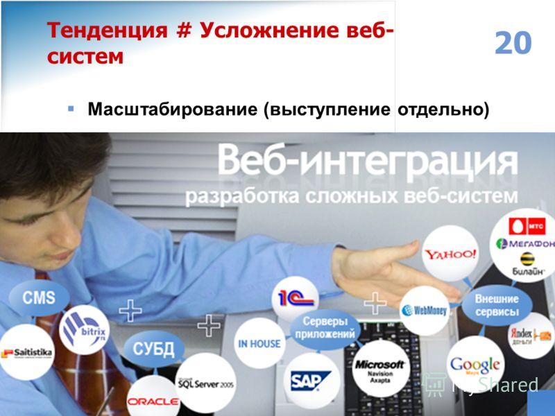 www.individ.ru Москва: (495) 749-30-68 Ярославль: (4852) 32-14-64, 32-14-54 Email: info@individ.ruinfo@individ.ru 20 Тенденция # Усложнение веб- систем Масштабирование (выступление отдельно)