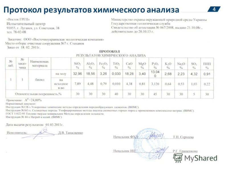 Протокол результатов химического анализа 4