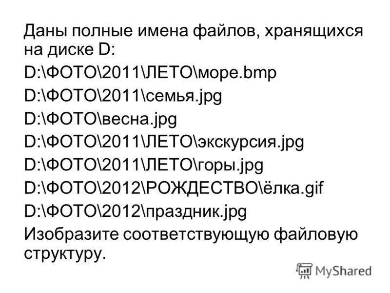 Даны полные имена файлов, хранящихся на диске D: D:\ФОТО\2011\ЛЕТО\море.bmp D:\ФОТО\2011\семья.jpg D:\ФОТО\весна.jpg D:\ФОТО\2011\ЛЕТО\экскурсия.jpg D:\ФОТО\2011\ЛЕТО\горы.jpg D:\ФОТО\2012\РОЖДЕСТВО\ёлка.gif D:\ФОТО\2012\праздник.jpg Изобразите соотв