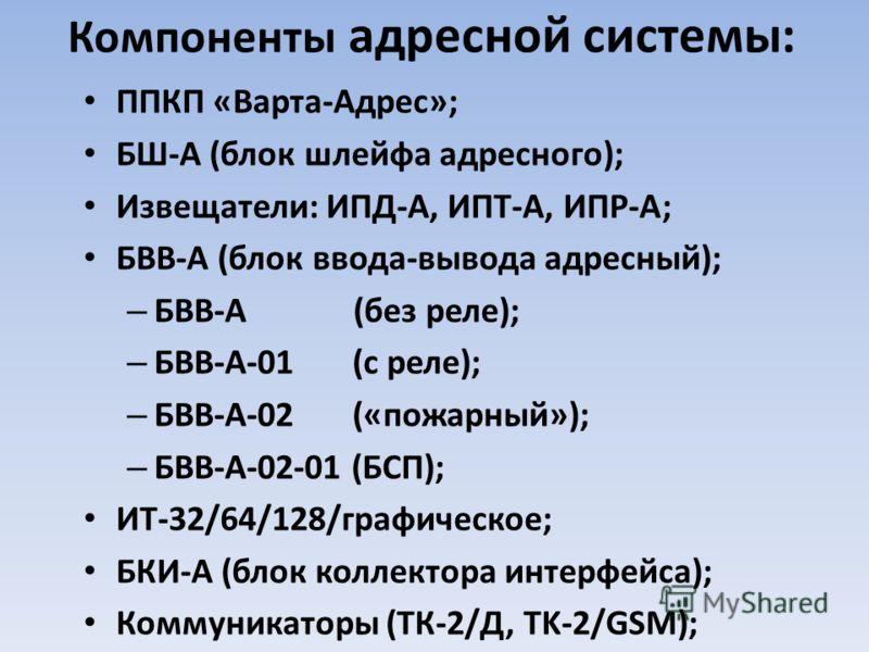 Компоненты адресной системы: ППКП «Варта-Адрес»; БШ-А (блок шлейфа адресного); Извещатели: ИПД-А, ИПТ-А, ИПР-А; БВВ-А (блок ввода-вывода адресный); – БВВ-А (без реле); – БВВ-А-01 (с реле); – БВВ-А-02 («пожарный»); – БВВ-А-02-01 (БСП); ИТ-32/64/128/гр
