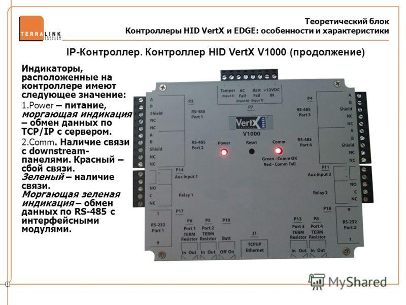 Теоретический блок Контроллеры HID VertX и EDGE: особенности и характеристики Индикаторы, расположенные на контроллере имеют следующее значение: 1.Power – питание, моргающая индикация – обмен данных по TCP/IP с сервером. 2.Comm. Наличие связи с downs