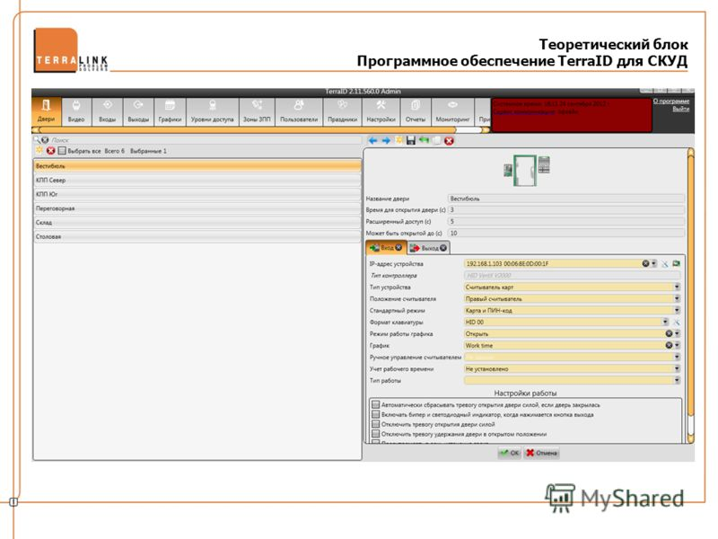 Теоретический блок Программное обеспечение TerraID для СКУД